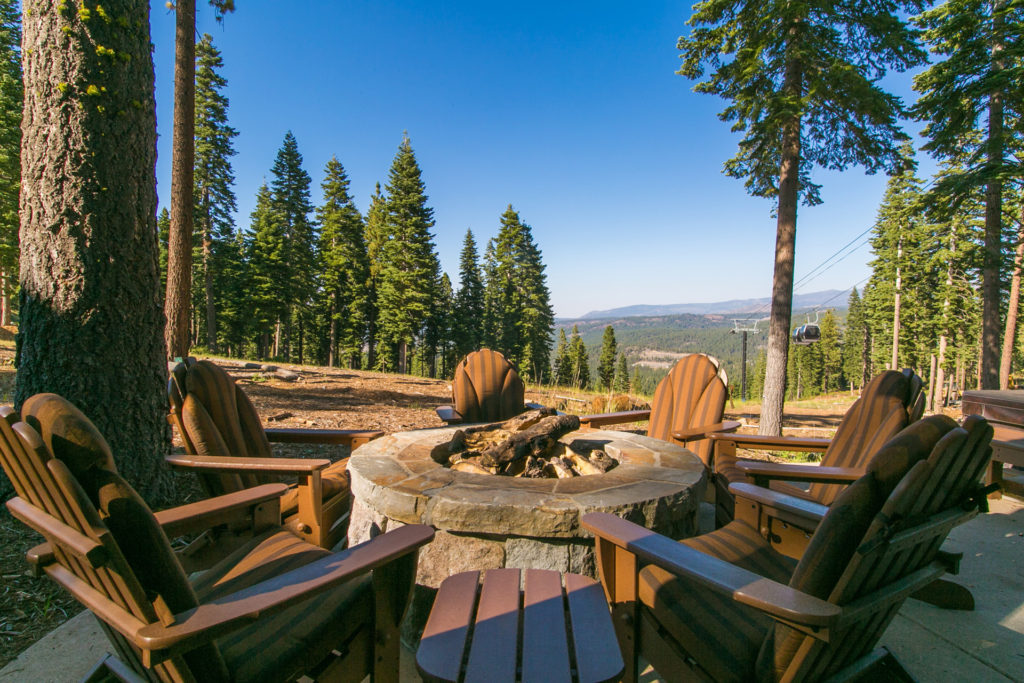 Lake Tahoe Truckee luxury real estate townhomes exterior backyard firepit photo