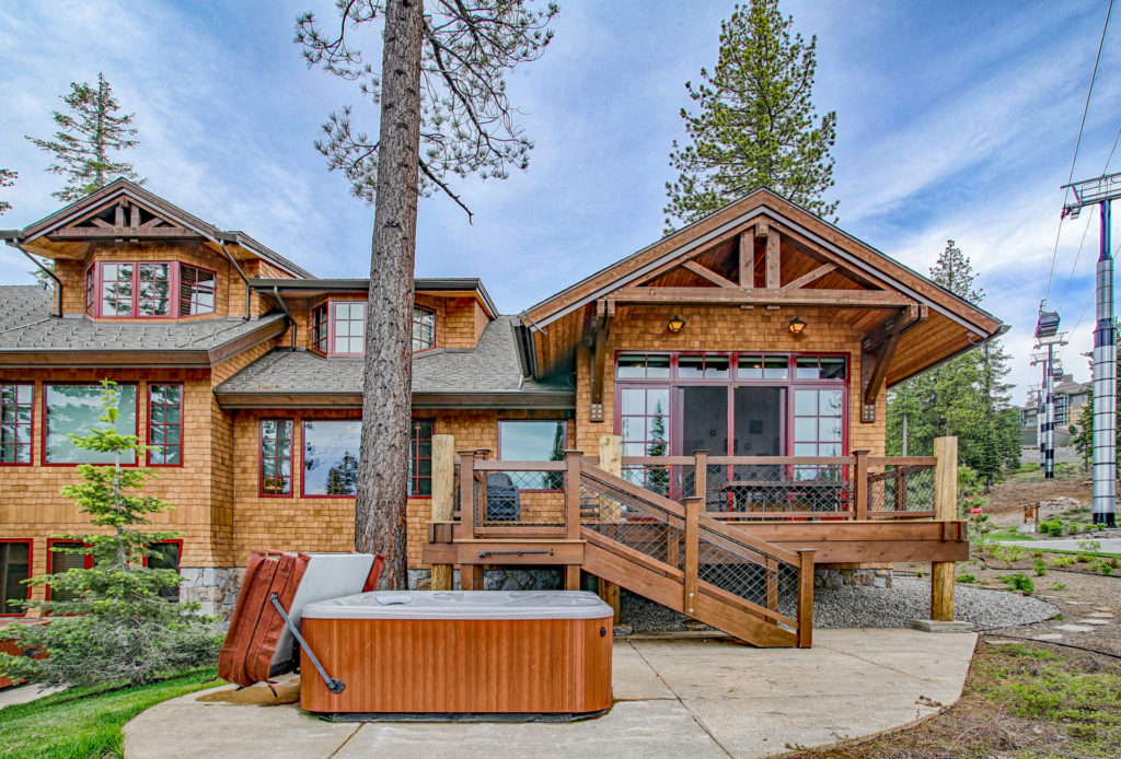 Lake Tahoe Truckee luxury real estate townhomes exterior backyard with hot tub