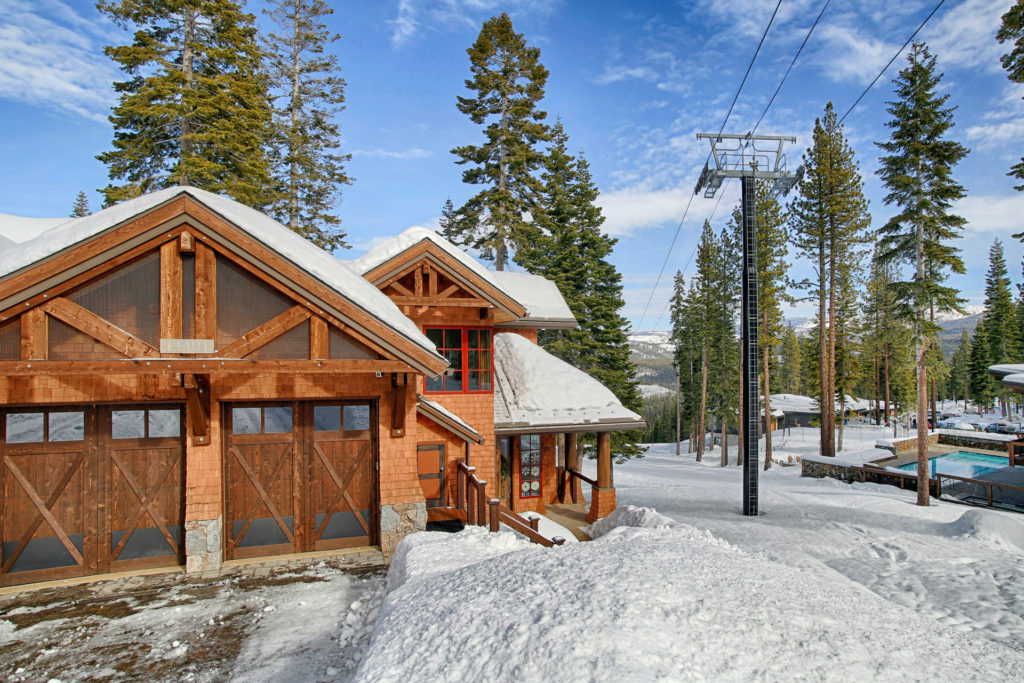 Lake Tahoe Truckee luxury real estate townhomes exterior driveway photo during winter