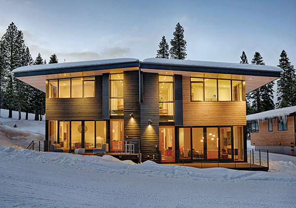 Stellar Townhomes in tahoe truckee during winter with snow on roads and real estate