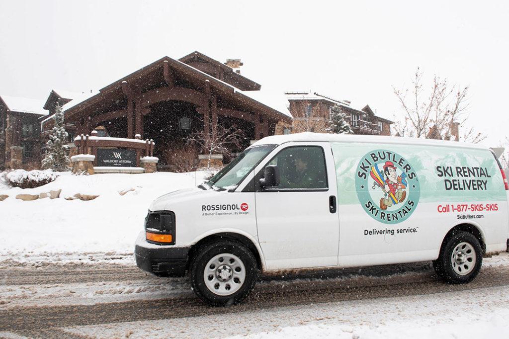 Ski Butler delivering rental skis to home