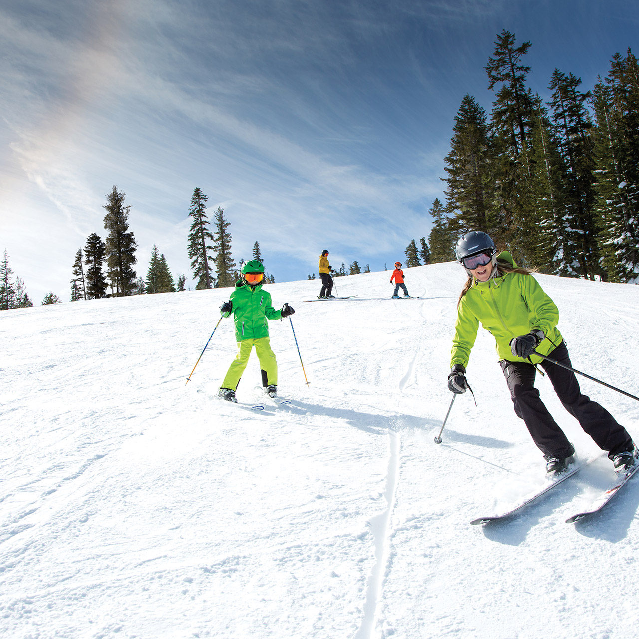family skiing in lake tahoe truckee california near ski in real estate